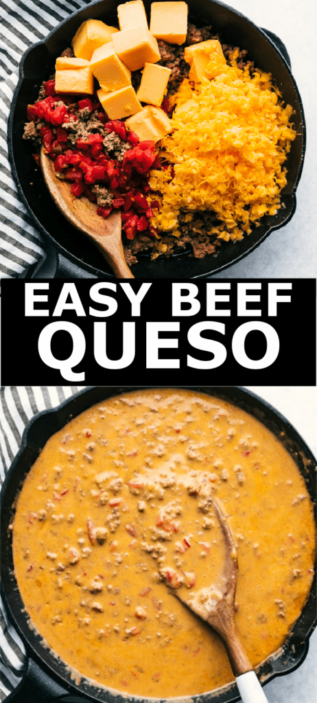 ingredients for queso in skillet