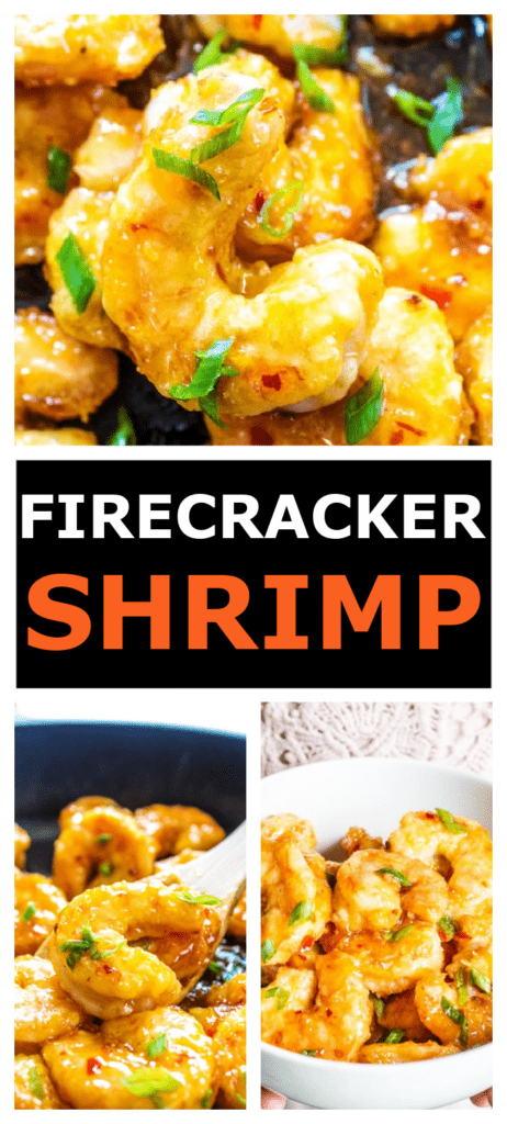 FIRECRACKER SHRIMP IN BOWL AND PAN TOPPED WITH FRESH CILANTRO