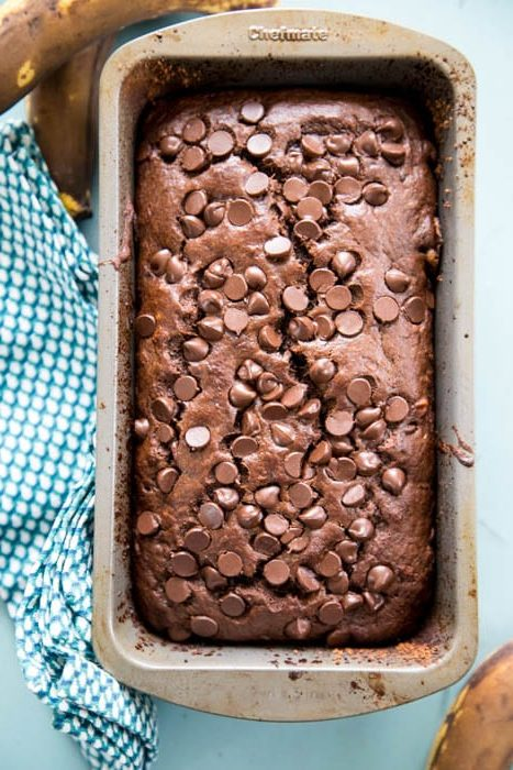 photo of the baked chocolate banana bread in a bread pan