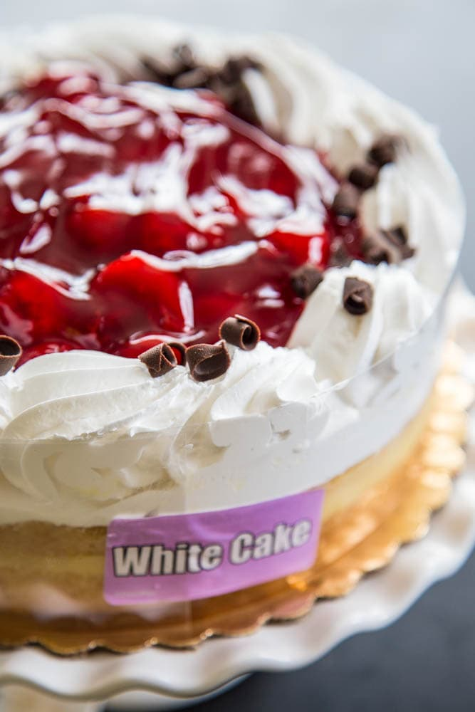 Photo of a whole cherry boston cake