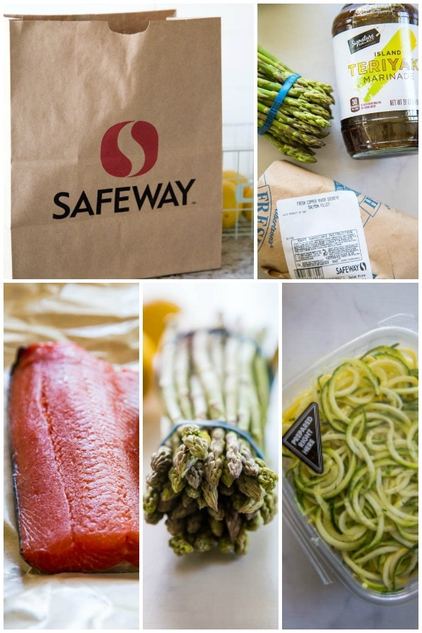 collage image of ingredients to use on the grill including salmon, asparagus and squash