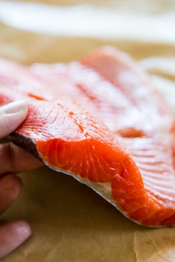 raw Sockeye salmon showing a straight on view with layers of the fish