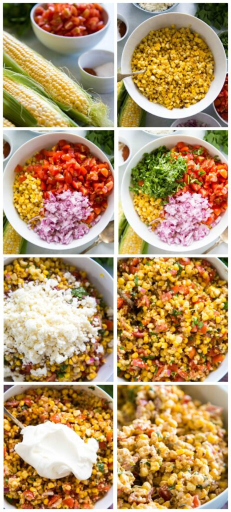 photo collage showing steps for making the salad