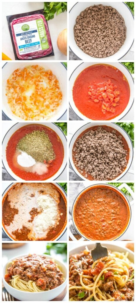 steps for making the spaghetti sauce
