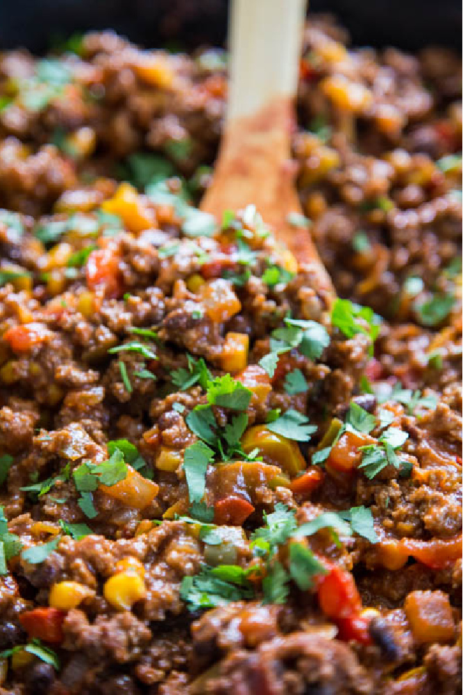 close-up photo of sloppy joes in a pan