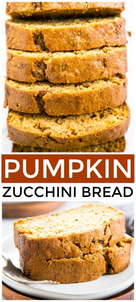 photo collage of pumpkin bread with zucchini