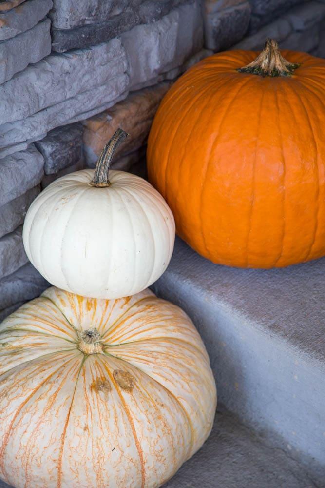 pumpkins on a porch.