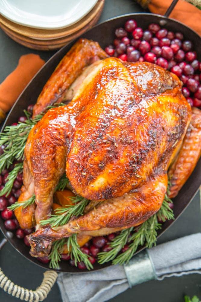 overhead shot of roast turkey in a pan.