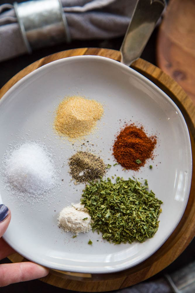 a plate with the spices on it