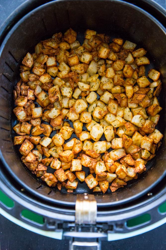 finished potatoes in the air fryer