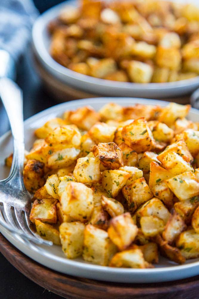 close-up shot of the breakfast potatoes
