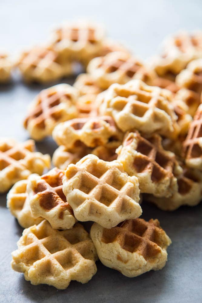 a pile of waffle cookies