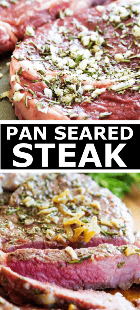 pan seared steak with garlic and seasonings