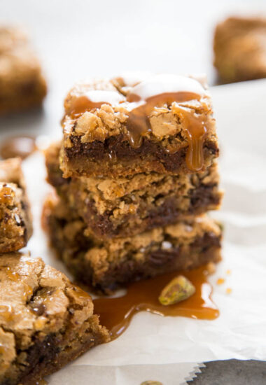 a stack of cookie bars.