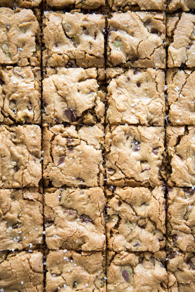 Overhead shot of sliced cookie bars.