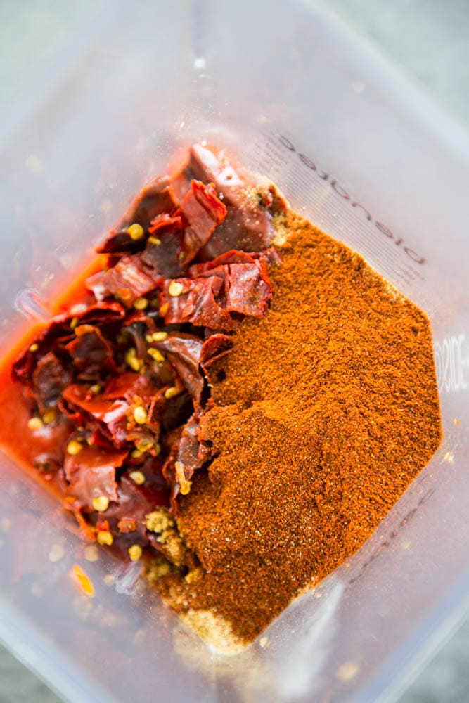 spices added to the blender.