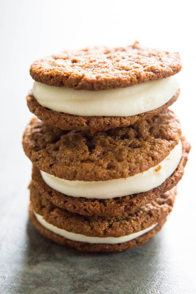 a stack of three carrot cake whoopie pies.