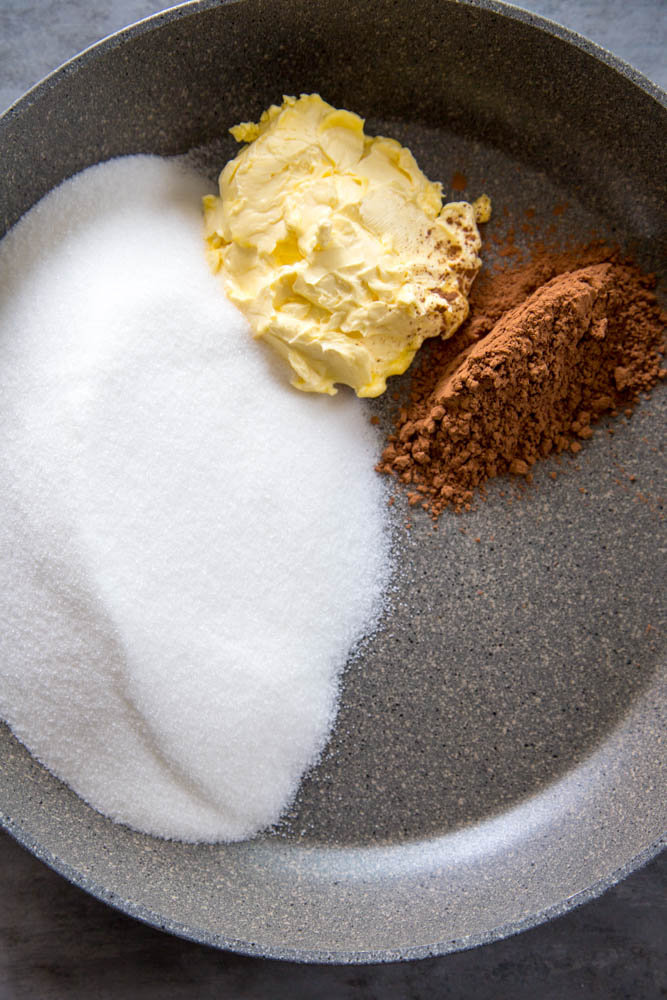 sugar, butter, and cocoa powder in a skillet.