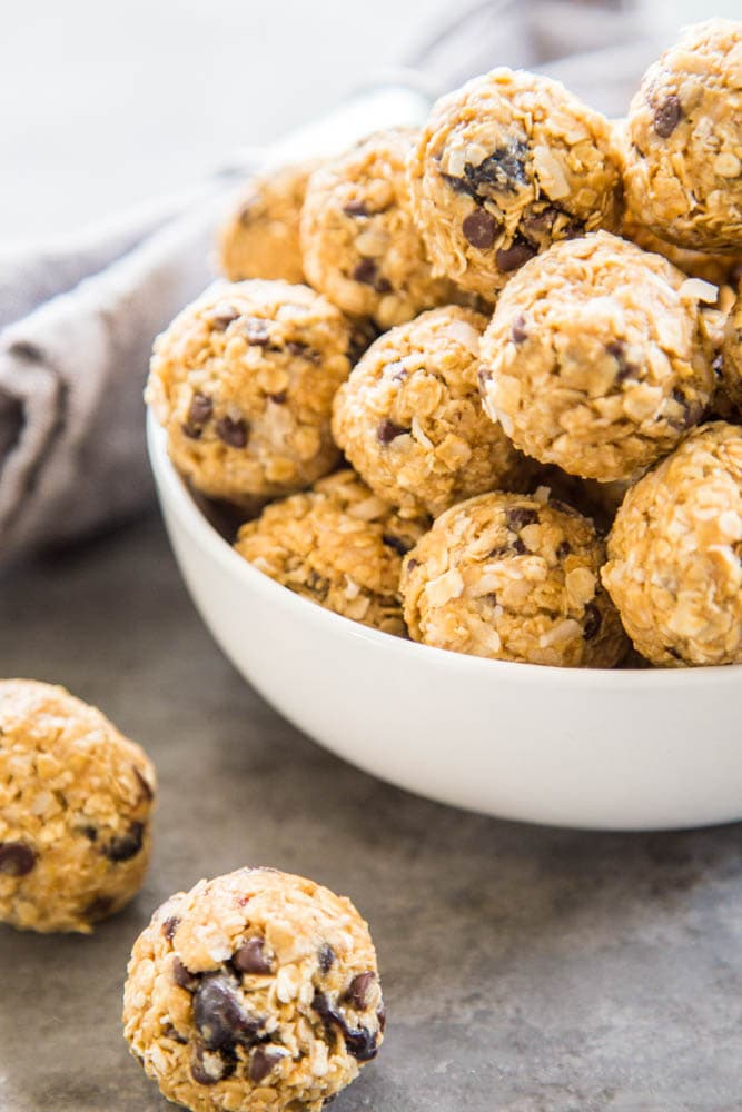 protein balls piled in a bowl.