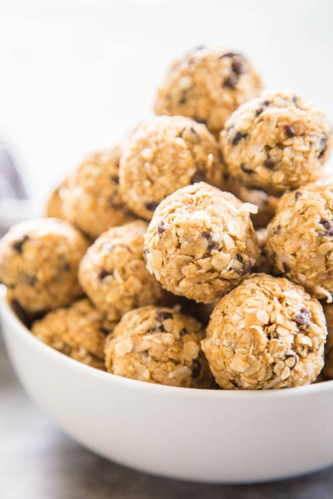 a bowl of protein balls.