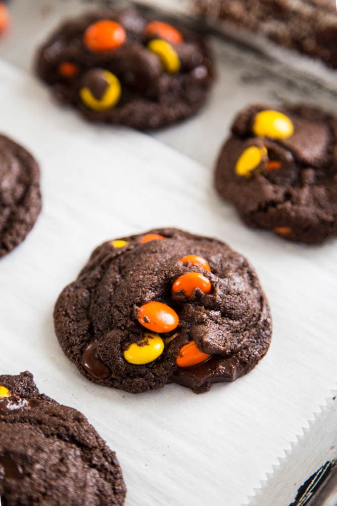 a chocolate cookie on a baking sheet.