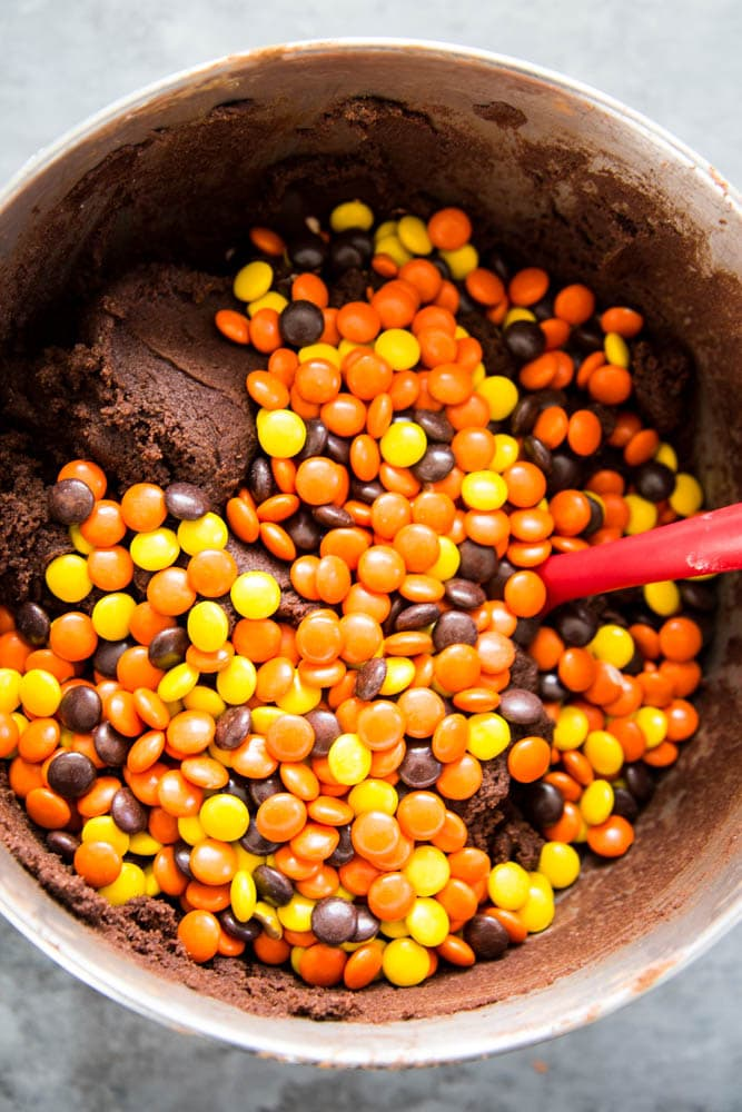 reese's pieces added to the cookie dough.