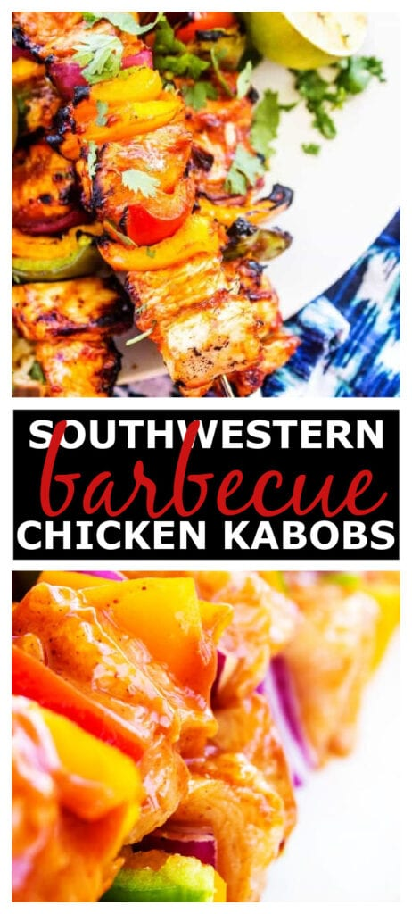 Grilled chicken, onions and bell peppers on skewers with a tangy-spicy sauce