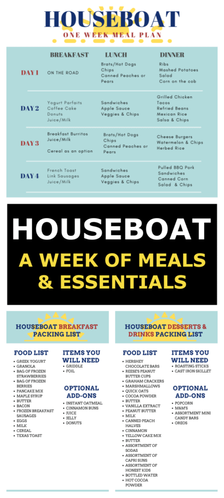 houseboat meal planning pinterest graphic.