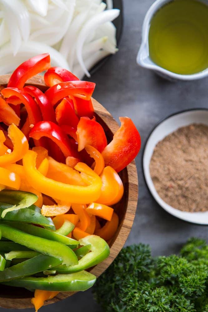 peppers, seasoning, and parsley.