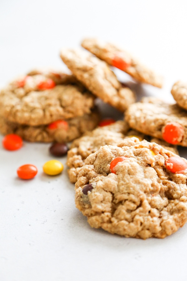 peanut butter oatmeal cookies with reese's pieces.