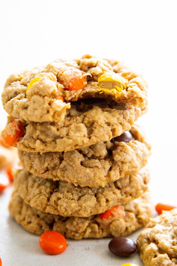 a stack of peanut butter oatmeal cookies.