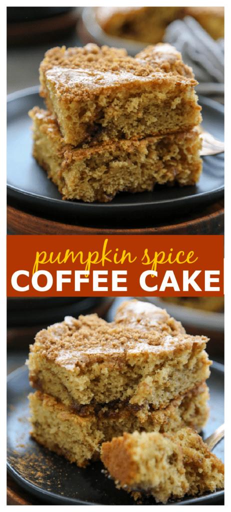 pumpkin spice coffee cake photo collage.