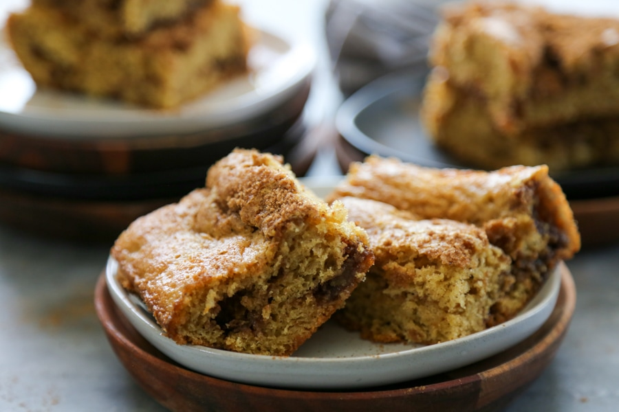 slices of coffee cake on a plate.