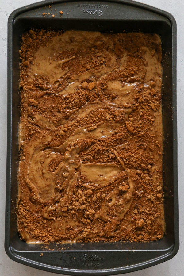the batter and topping swirled together.