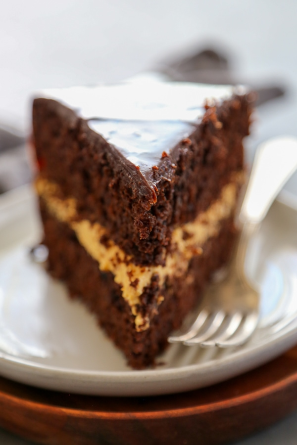 a slice of cake on a plate.