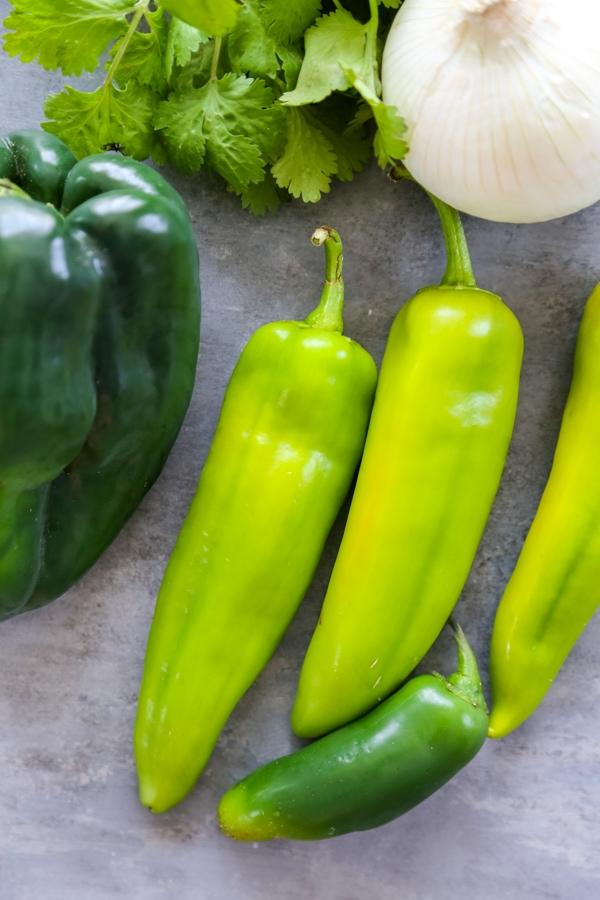 Anaheim peppers, cilantro, onion, and poblano pepper.