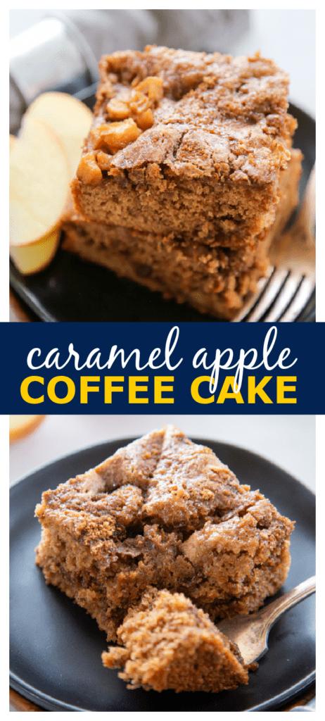 caramel apple coffee cake pinterest collage.