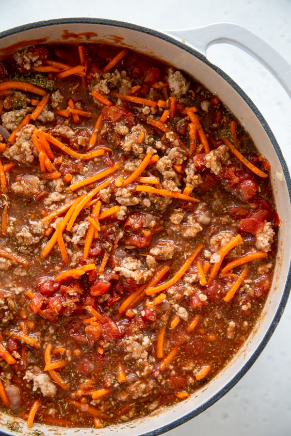 the sauce simmering in a pot.