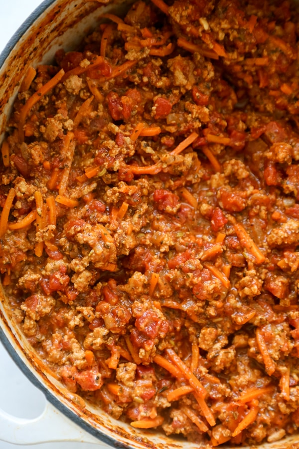 overhead shot of a pan of bolognese.