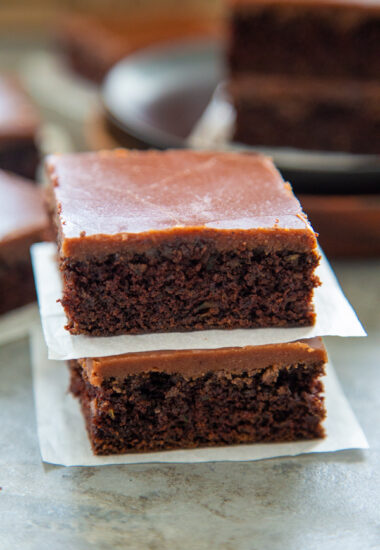 a stack of two zucchini brownies.