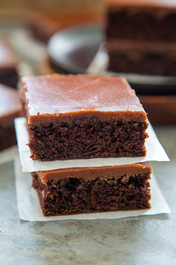two brownies stacked on top of each other.