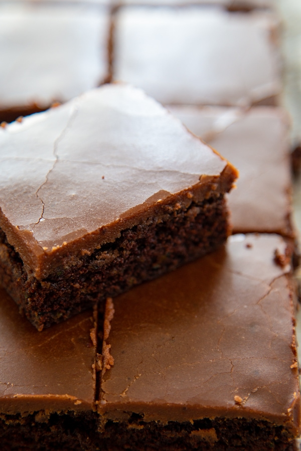 close up of a brownie.
