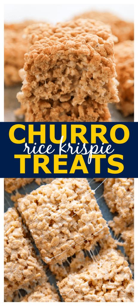 churro rice krispie treats pinterest collage.