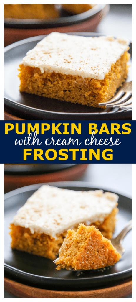 pumpkin bars pinterest collage image.