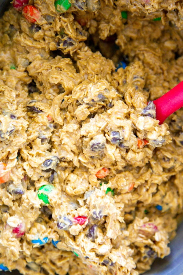 overhead shot of the cookie dough in a bowl.