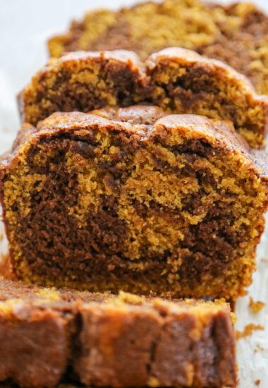 sliced pumpkin Nutella bread.