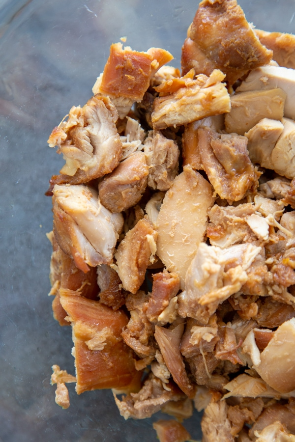 chopped cooked chicken thighs.